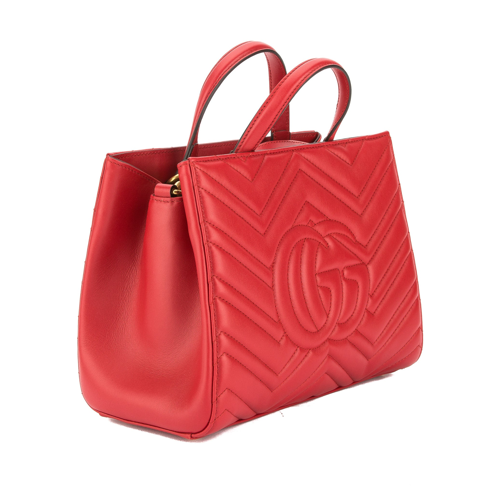 a8af0966f48 Gucci Hibiscus Red Leather GG Marmont Matelasse Small Top Handle Bag New  with Tags