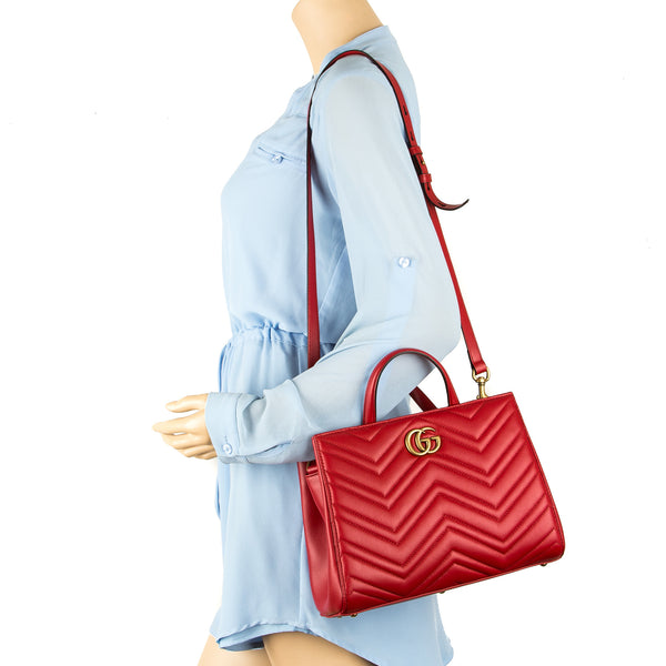 c1a4bee1941483 ... Gucci Hibiscus Red Leather GG Marmont Matelasse Small Top Handle Bag  (New with Tags)