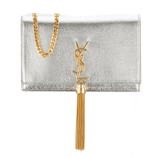 Yves Saint Laurent Saint Laurent Silver Soft Grained Metallic Leather Kate  Monogram Tassel Chain Wallet New with Tags 83f97ec46acac