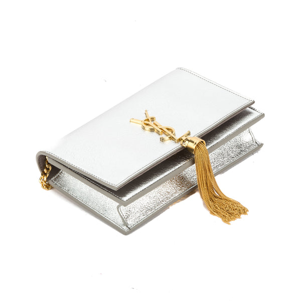 d6a8737155 Yves Saint Laurent Saint Laurent Silver Soft Grained Metallic Leather Kate  Monogram Tassel Chain Wallet New with Tags