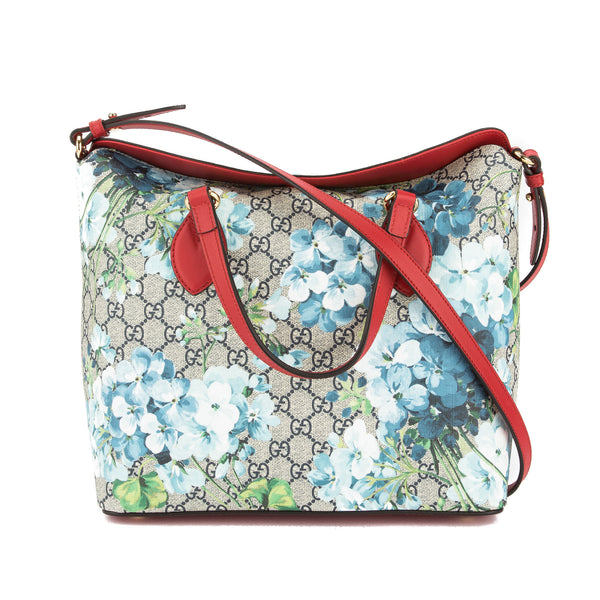 169efa230f5a0c Gucci Hibiscus Red Leather GG Blooms Supreme Medium Top Handle Bag New with  Tags