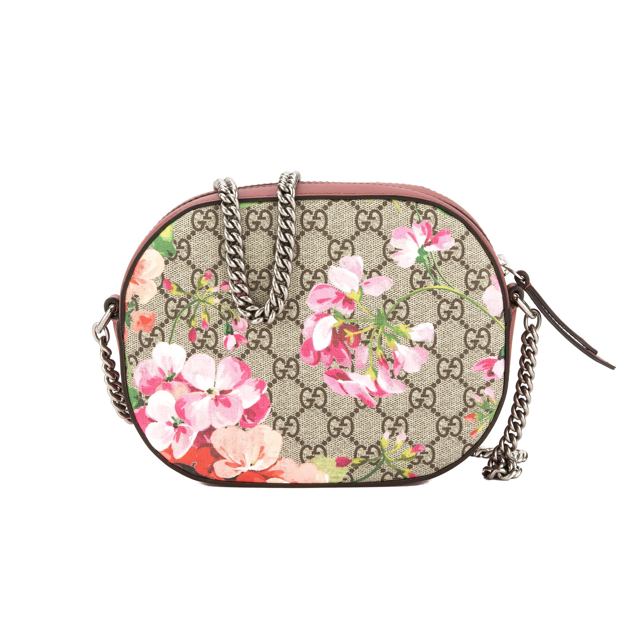 47b02c47c6873b Gucci Antique Rose Leather Blooms GG Supreme Mini Chain Bag (New with -  3497004 | LuxeDH