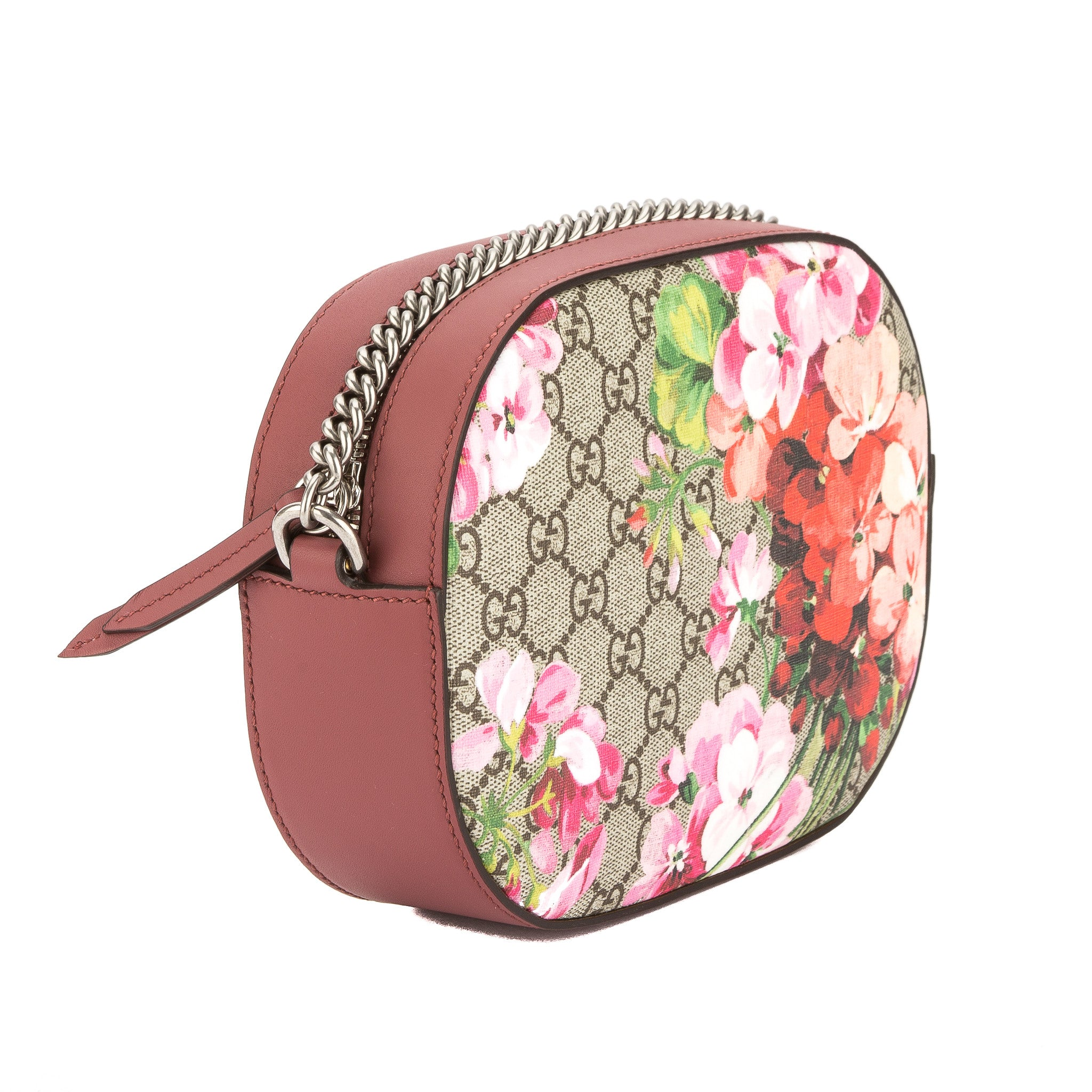 efa08bbdb58 Gucci Antique Rose Leather Blooms GG Supreme Mini Chain Bag (New with -  3497004