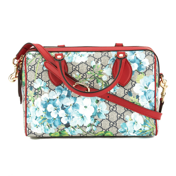 6446164f036a74 Gucci Hibiscus Red Leather GG Blooms Supreme Small Top Handle Bag New with  Tags