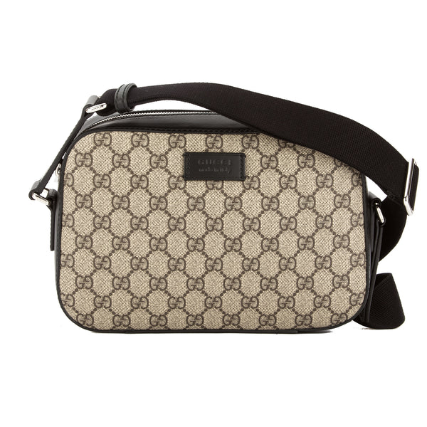 8c43aad5a9c2 Gucci Black Leather GG Supreme Canvas Shoulder Bag (New with Tags ...