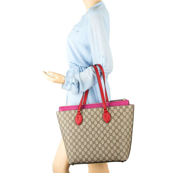 24f6097cd5af ... Gucci Hibiscus Red and Pink Leather Medium GG Supreme Tote Bag (New  with Tags)