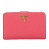Prada Peony Pink Saffiano Leather Bifold Tab Wallet (New with Tags)