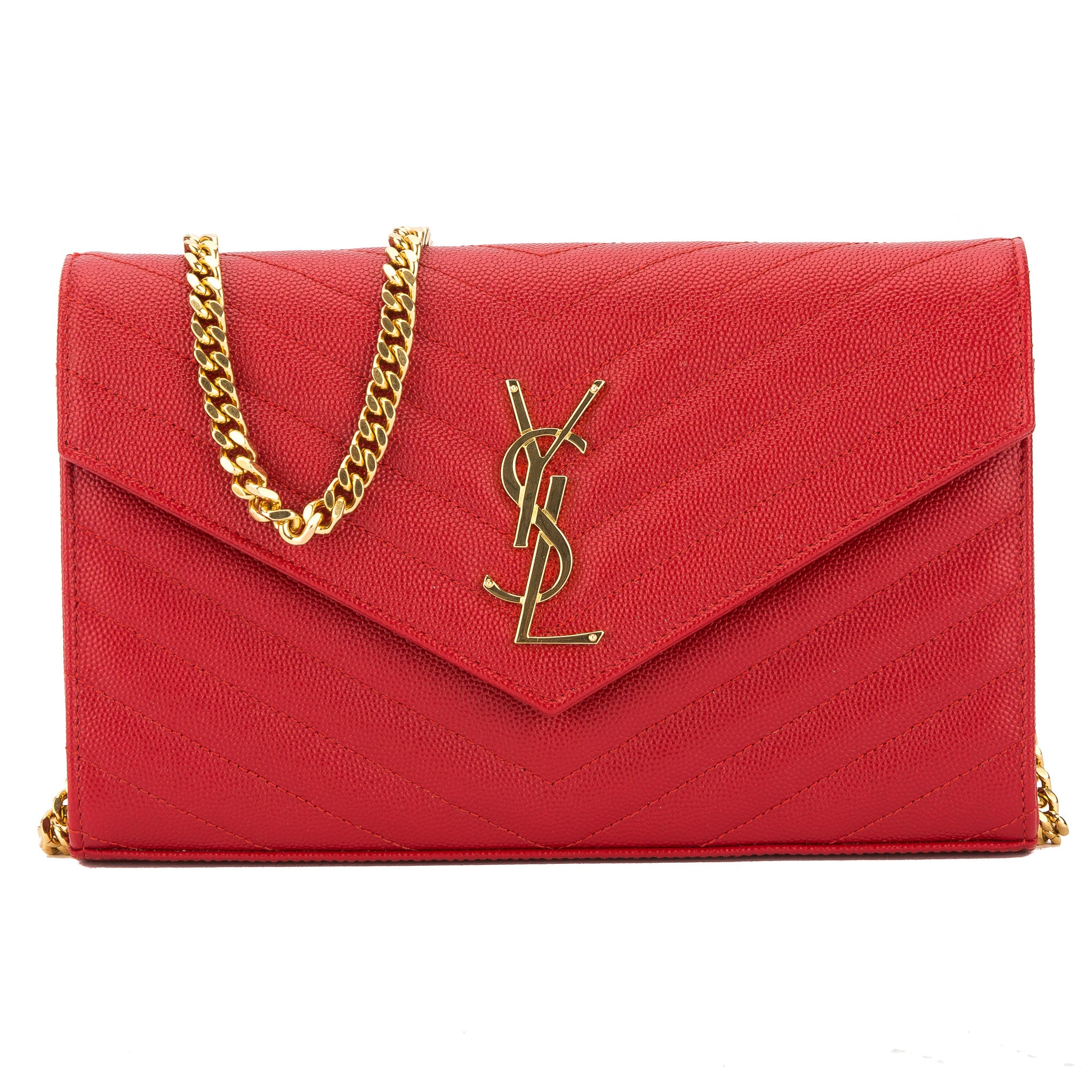 807bbf666636a Yves Saint Laurent Saint Laurent Lipstick Red Matelasse Leather Monogram Chain  Wallet New with Tags