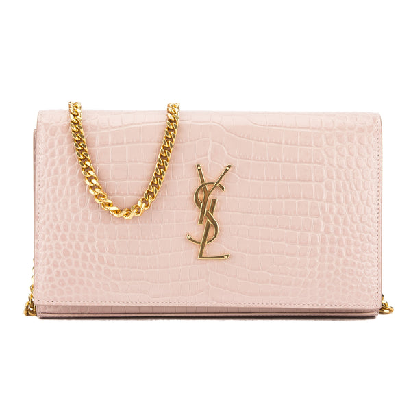 41e135438e0a Yves Saint Laurent Saint Laurent Antique Rose Crocodile Embossed Shiny  Leather Chain Wallet New with Tags