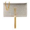 Saint Laurent Pale Gold Textured Grained Metallic Leather Kate Monogram Tassel Chain Wallet (New with Tags)