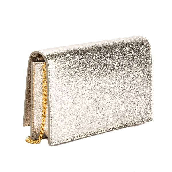 Yves Saint Laurent Saint Laurent Pale Gold Textured Grained Metallic  Leather Kate Monogram Tassel Chain Wallet New with Tags 35b60f398bab9