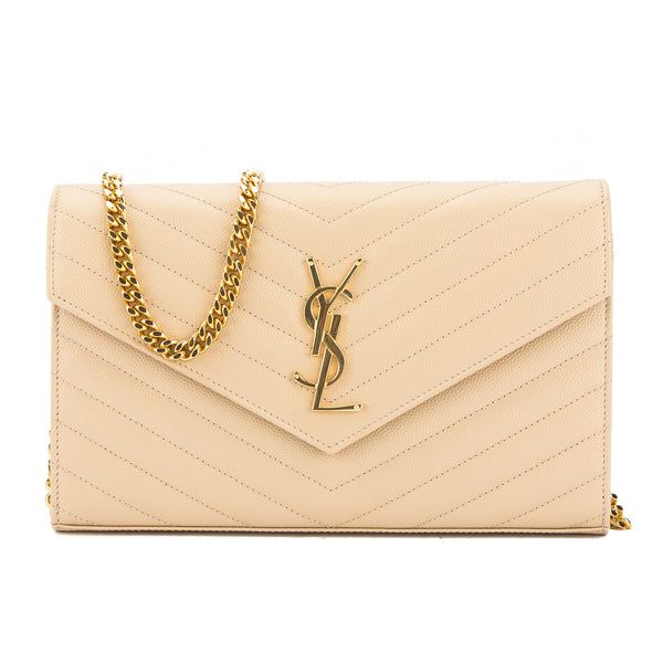 b7f0ad5082 Yves Saint Laurent Saint Laurent Powder Matelasse Leather Monogram Chain  Wallet New with Tags