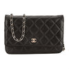 Chanel Black Quilted Lambskin Leather Wallet On Chain WOC Bag (Pre Owned)