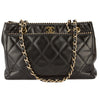 Chanel Black Quilted Lambskin Leather Double Chain Shoulder Bag (Pre Owned)