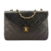 Chanel Black Quilted Lambskin Leather Vintage Single Flap Chain Bag (Pre Owned)