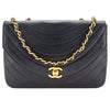 Chanel Navy Quilted Half Moon Lambskin Leather Vintage Flap Chain Bag (Pre Owned)