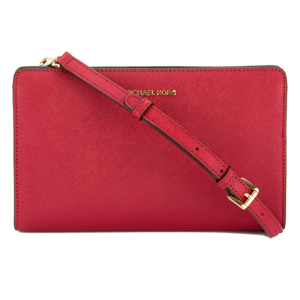 dea95f281ab4 Michael Kors Cherry Saffiano Leather Jet Set Large Crossbody Clutch New  with Tags