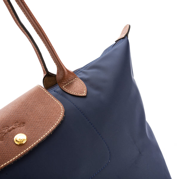 Longchamp Navy Nylon Canvas Le Pliage L Long Strap Bag (New with Tags)