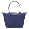Longchamp Navy Satin Nylon Canvas Le Pliage Neo L Tote Bag (New with Tags)