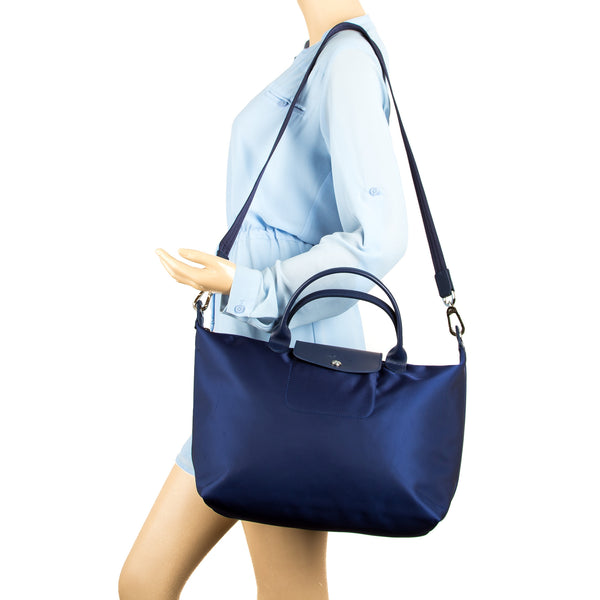 a00421712 ... Longchamp Navy Nylon Canvas Le Pliage Neo M Top Handle Bag (New with  Tags)