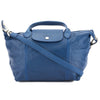 Longchamp Blue Metis Leather Le Pliage Cuir S Top Handle Bag (New with Tags)