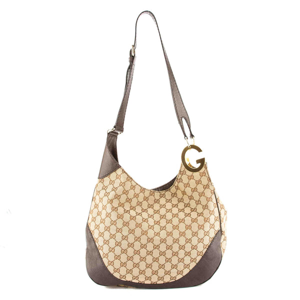 81c8107cca9 Gucci Brown Leather GG Supreme Canvas Shoulder Bag (Pre Owned ...