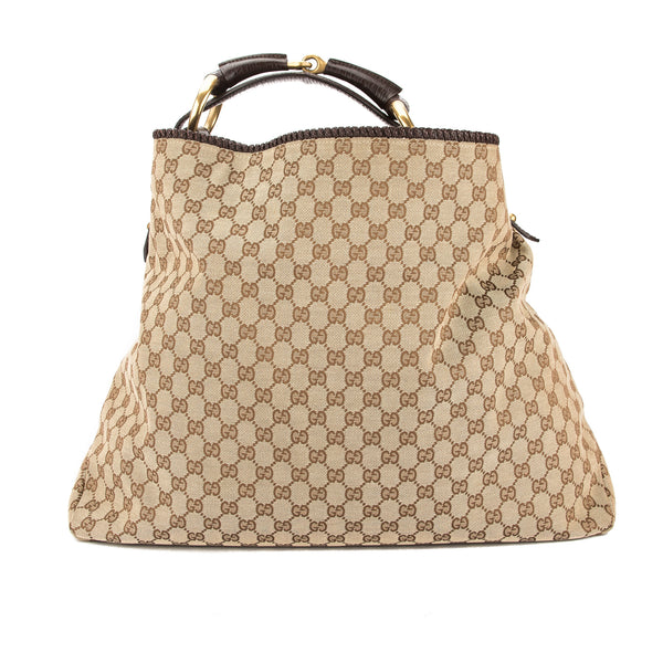 ef3db996013 Gucci GG Monogram Canvas Chain Horsebit Hobo Bag (Pre Owned ...