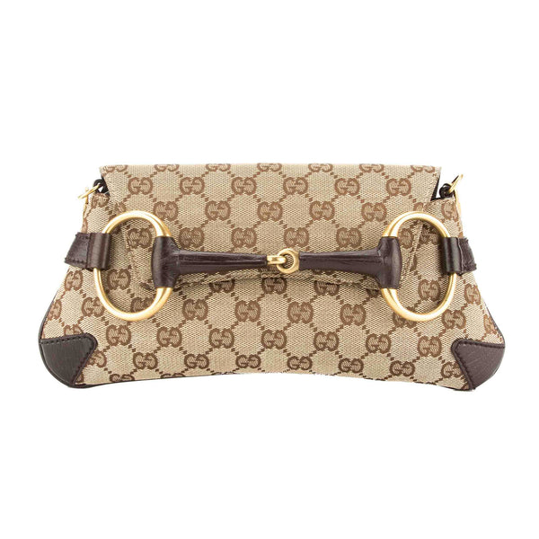 Gucci GG Monogram Canvas Horsebit Chain Bag (Pre Owned)