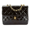 Chanel Black Quilted Patent Leather Square Mini Classic Flap Bag (Pre Owned)