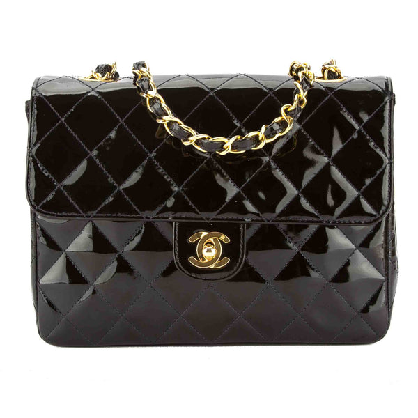 d357d9a7fae9 Chanel Black Quilted Patent Leather Square Mini Classic Flap Bag Pre Owned