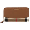 Burberry Brown Ochre Leather and House Check Zip Around Wallet (New with Tags)