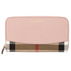 Burberry Pale Orchid Leather and House Check Zip Around Wallet (New with Tags)