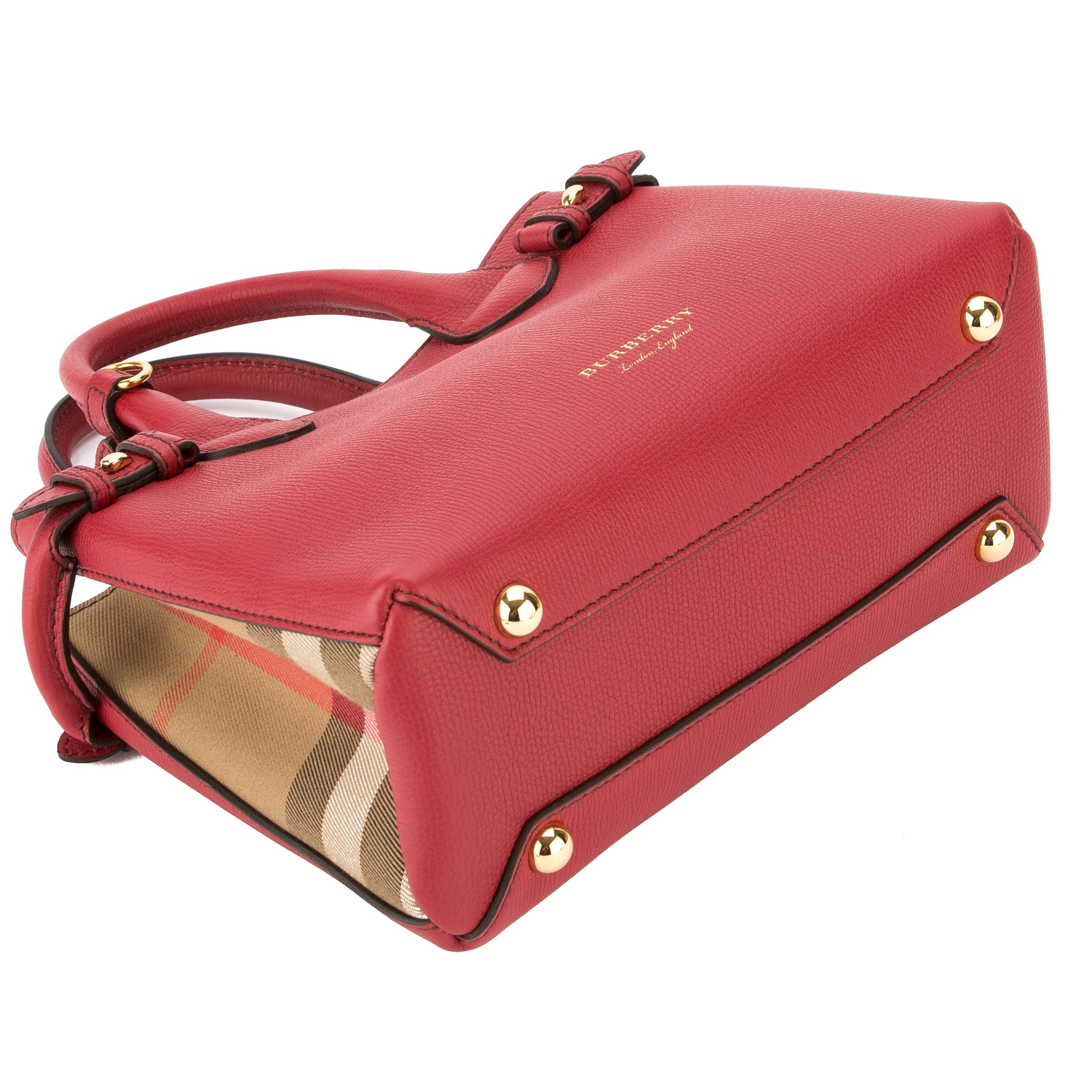 Burberry Red Leather and House Check Small Banner Bag (New with Tags) -  3539008  1898e502e26e2