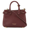 Burberry Mahogany Red Leather and House Check Small Banner Bag (New with Tags)