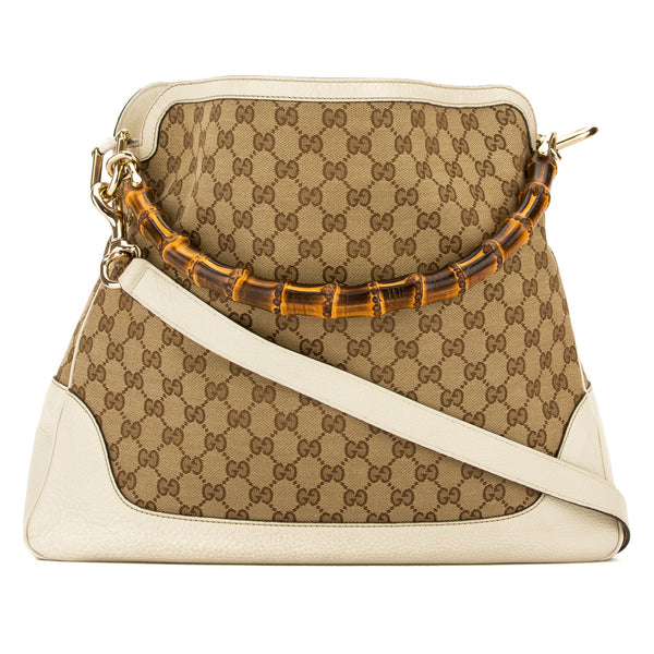 5ab10fd4a8da Gucci Ivory Leather GG Supreme Canvas Bamboo Hobo Bag (Pre Owned ...