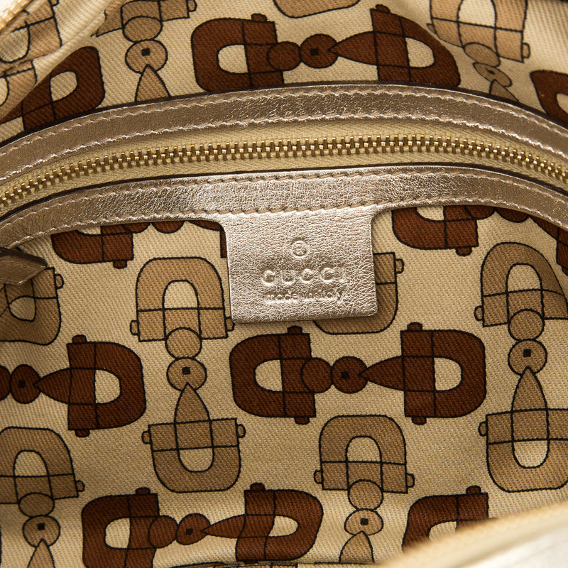 Gucci Gold Metallic GG Monogram Leather Guccisima Capri Satchel Bag (Pre Owned)