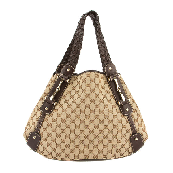 Gucci Brown Leather GG Supreme Canvas Pelham Hobo Bag (Pre Owned)