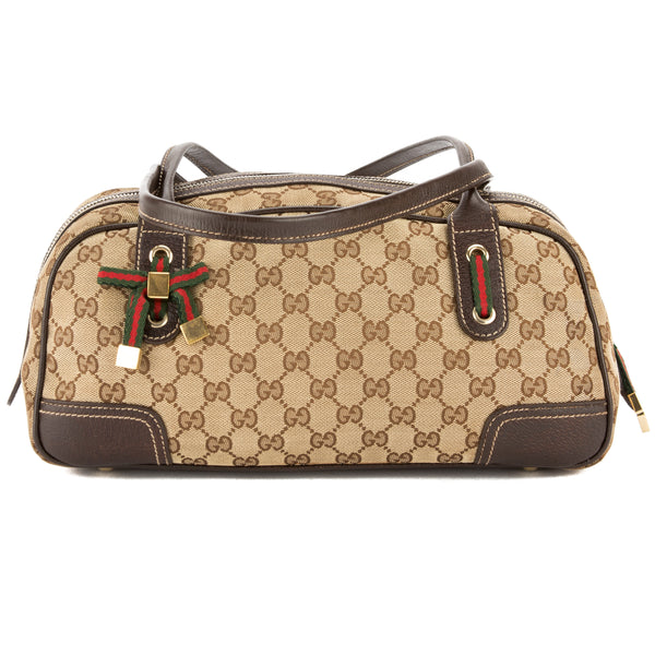 Gucci Brown Leather GG Supreme Canvas Small Princy Boston Bag (Pre Owned)