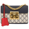 Gucci Blue and Hibiscus Red Leather GG Supreme Canvas Padlock Shoulder Bag (New with Tags)