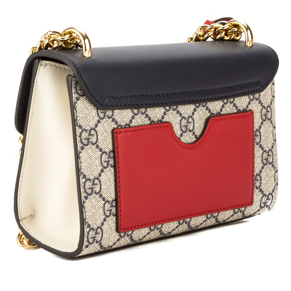 25b98973c2b8 ... Gucci Blue and Hibiscus Red Leather GG Supreme Canvas Padlock Shoulder  Bag (New with Tags ...