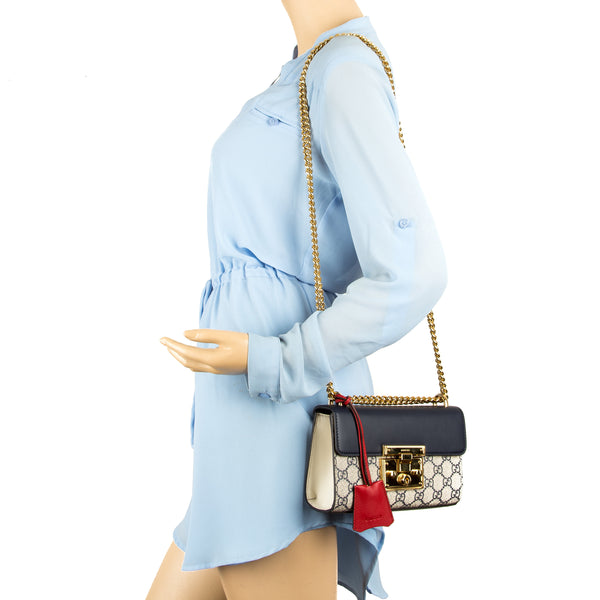 6b5aa1b90284 ... Gucci Blue and Hibiscus Red Leather GG Supreme Canvas Padlock Shoulder  Bag (New with Tags