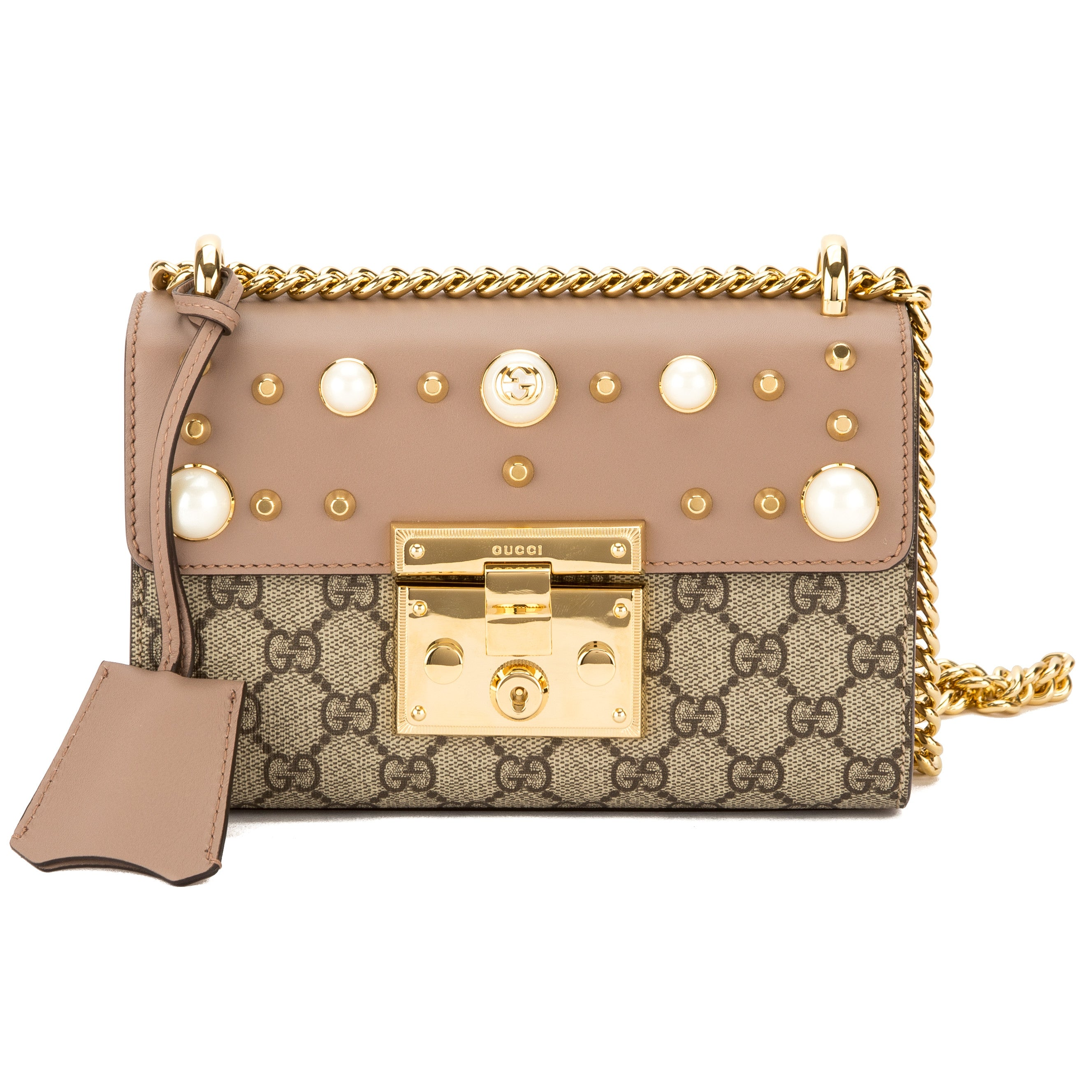 d607a23b0bf956 Gucci Nude Leather GG Supreme Canvas Padlock Studded Shoulder Bag New with  Tags