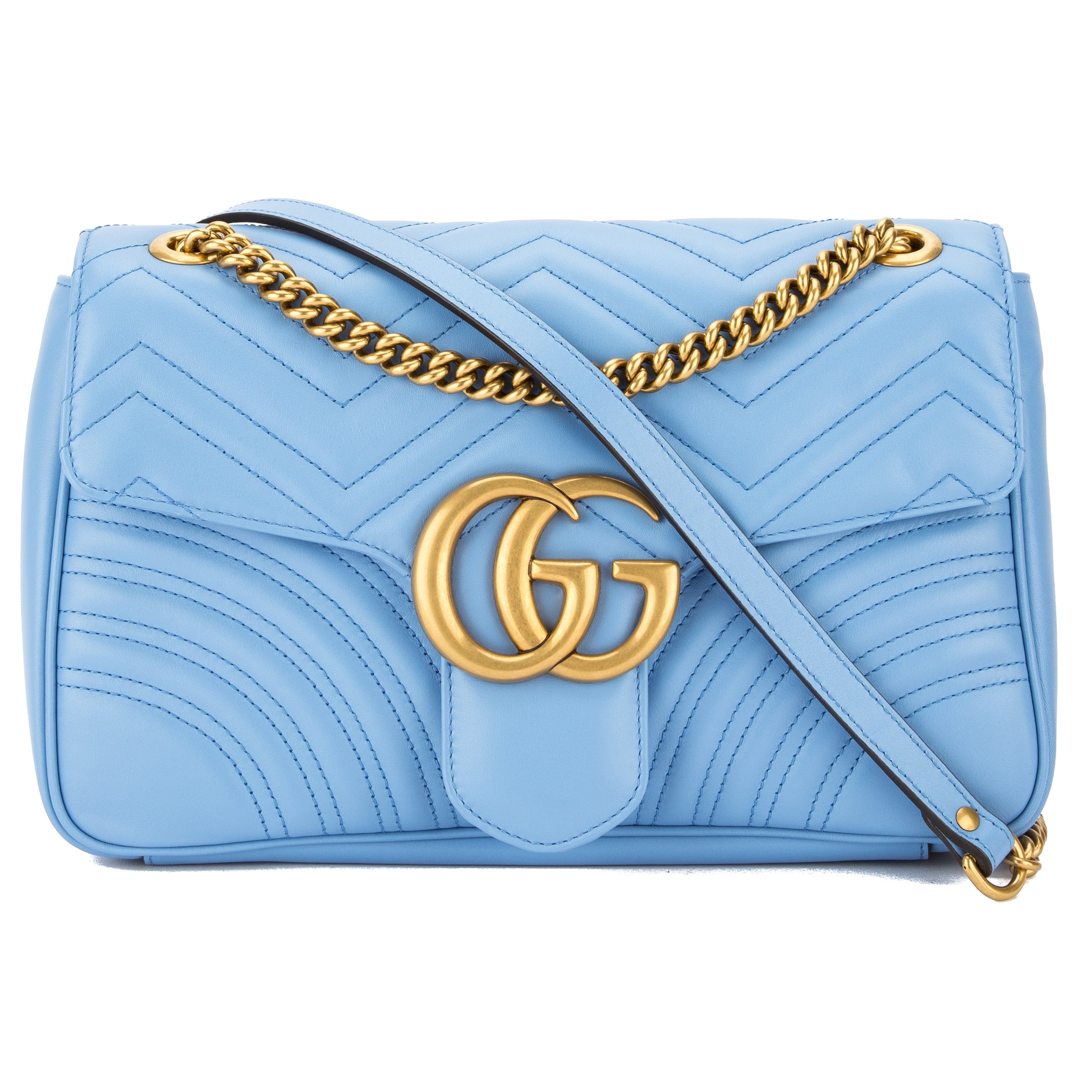 bcd308bd8e85 Gucci Light Blue Leather GG Marmont Matelasse Shoulder Bag New with Tags