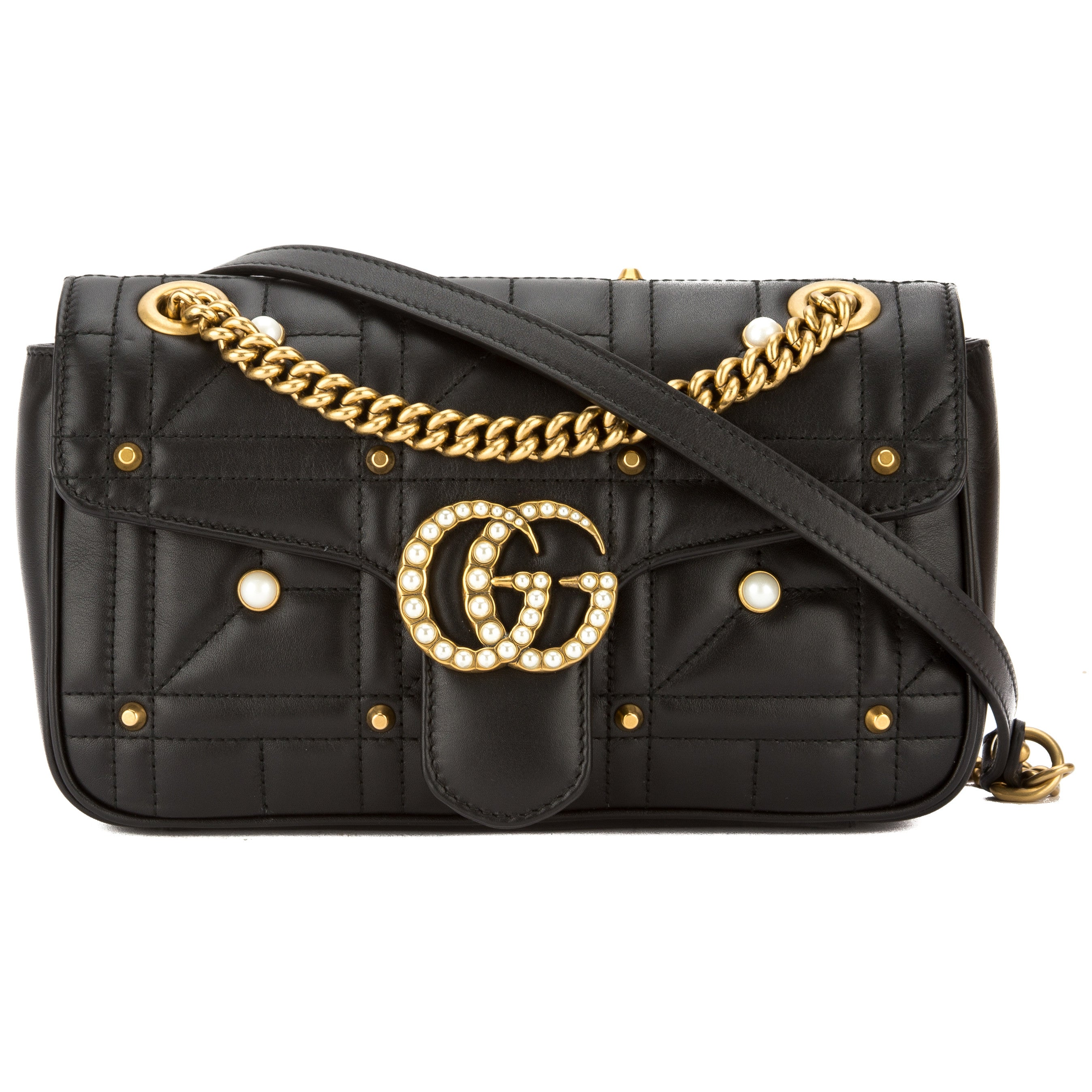 3d4a34a82171 Gucci Black Leather GG Marmont Matelasse Shoulder Bag (New with Tags ...