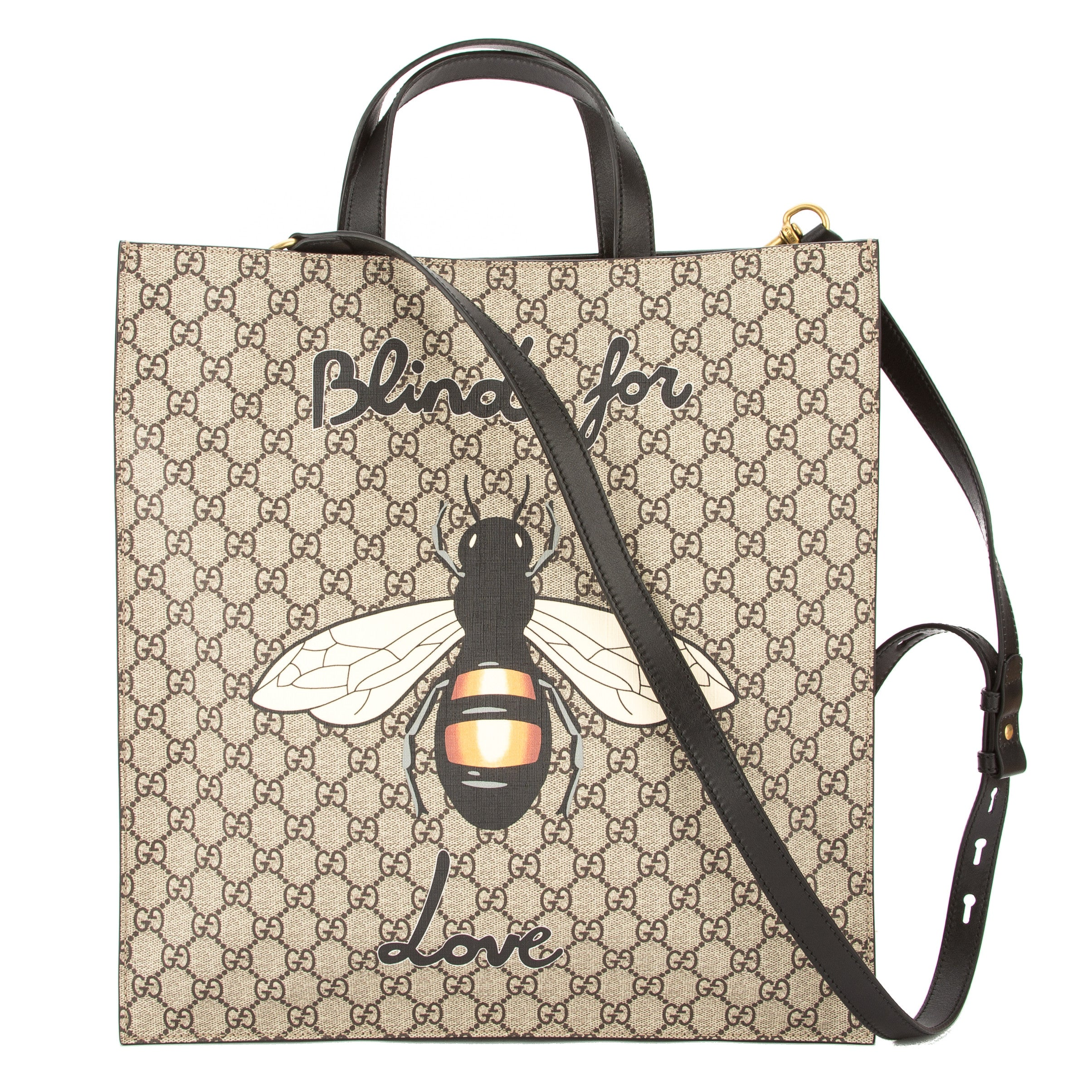 ff7de140eea Gucci Brown Leather Soft GG Supreme Canvas Bee Print Tote (New with ...
