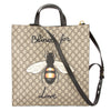 Gucci Brown Leather Soft GG Supreme Canvas Bee Print Tote (New with Tags)