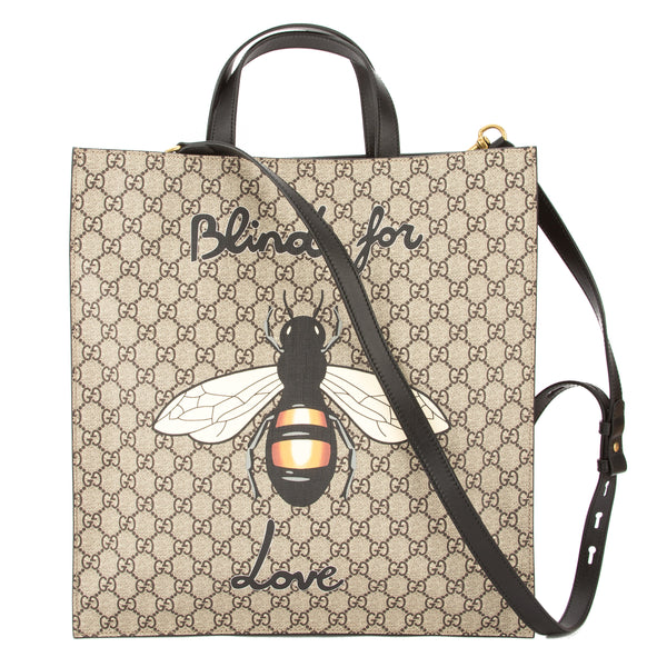 b607222a Gucci Brown Leather Soft GG Supreme Canvas Bee Print Tote (New with Tags)
