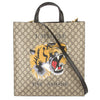 Gucci Brown Leather Soft GG Supreme Canvas Tiger Print Tote (New with Tags)