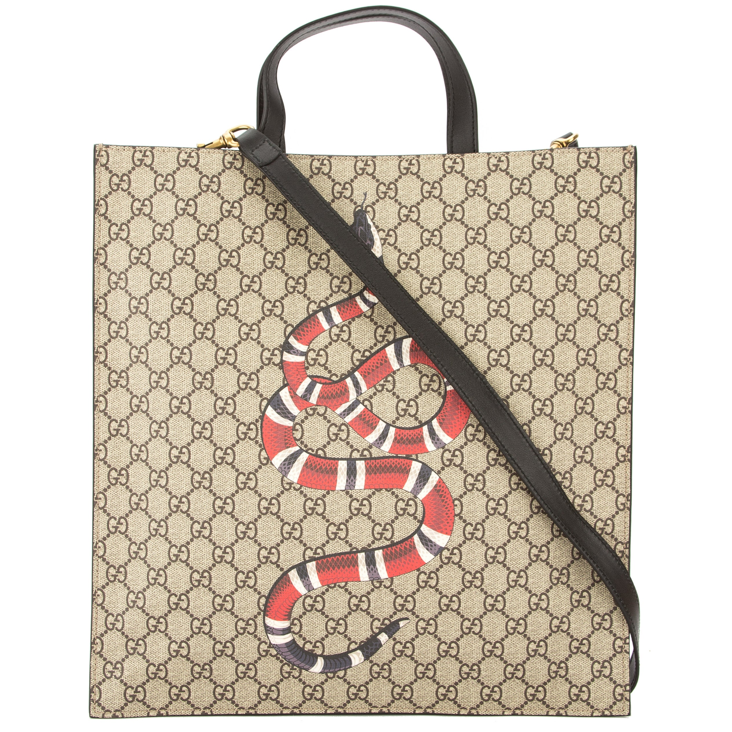 bfa42dfc5bc3 Gucci Brown Leather Soft GG Supreme Canvas Snake Print Tote New with Tags