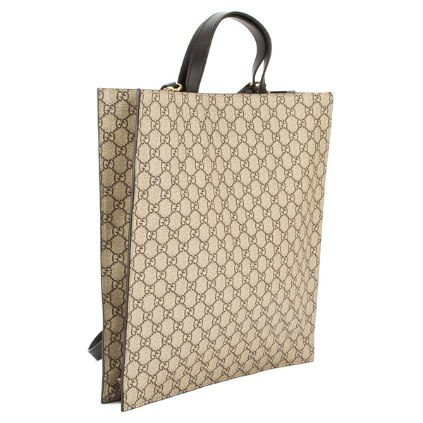 8c4a7fc2c666ba ... Gucci Brown Leather Soft GG Supreme Canvas Snake Print Tote (New with  Tags) ...